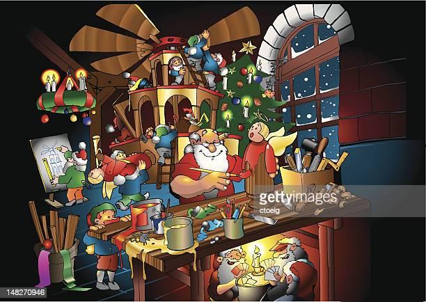 illustrations, cliparts, dessins animés et icônes de père noël et ses lutins travaillant dans le magasin - avent