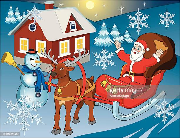 Santa Clause y muñeco de nieve