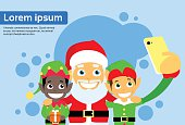 Santa Clause Christmas Elf Cartoon Taking Selfie On Smart Phone