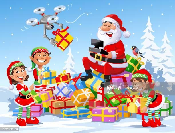 santa delivering christmas presents with a drone - non urban scene stock illustrations