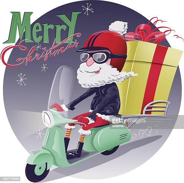 illustrations, cliparts, dessins animés et icônes de santa service de livraison - casque de moto