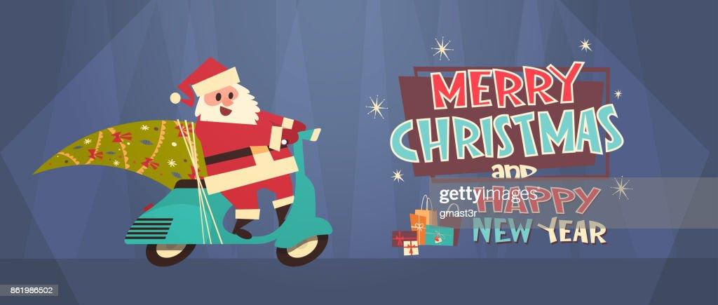 Bannersanta Fahren Roller Mit Kiefer Frohe Weihnachten Und Frohes ...