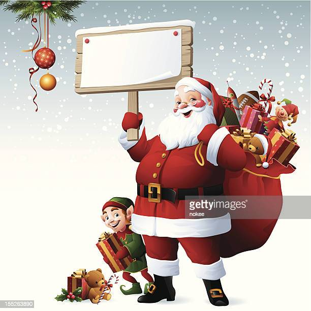 illustrations, cliparts, dessins animés et icônes de santa & elfe-panneau - pancarte de manifestation