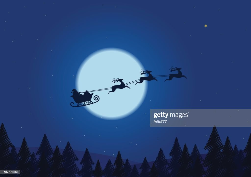 Santa flying through the night sky under the christmas forest. Santa sleigh driving over line drawing woods near big moon in night