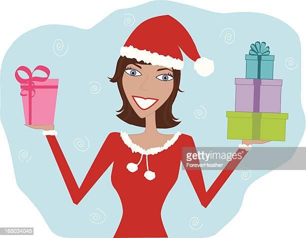Santa Girl Delivering Gifts