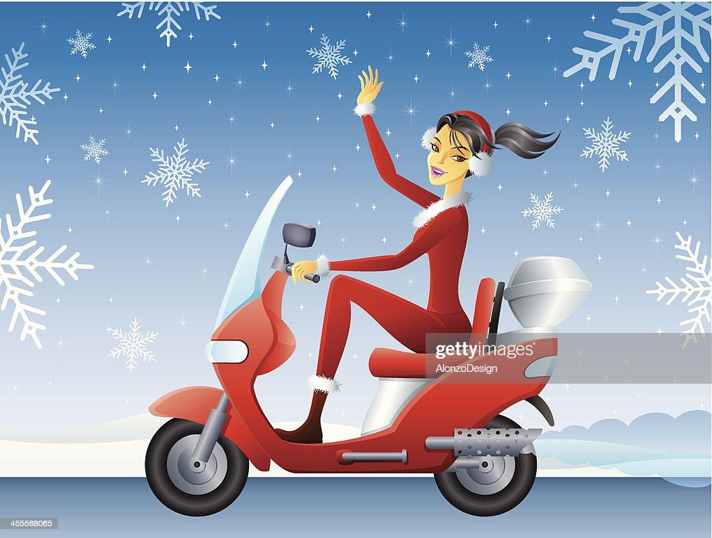 Santa Girl on Scooter : stock illustration