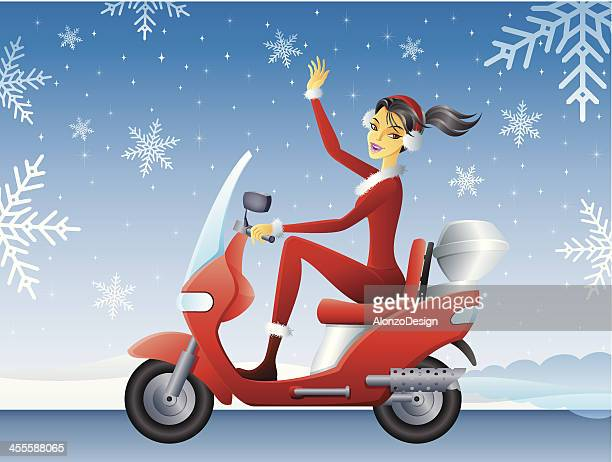 Santa Girl on Scooter