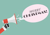 Santa hand holding megaphone with word Merry christmas