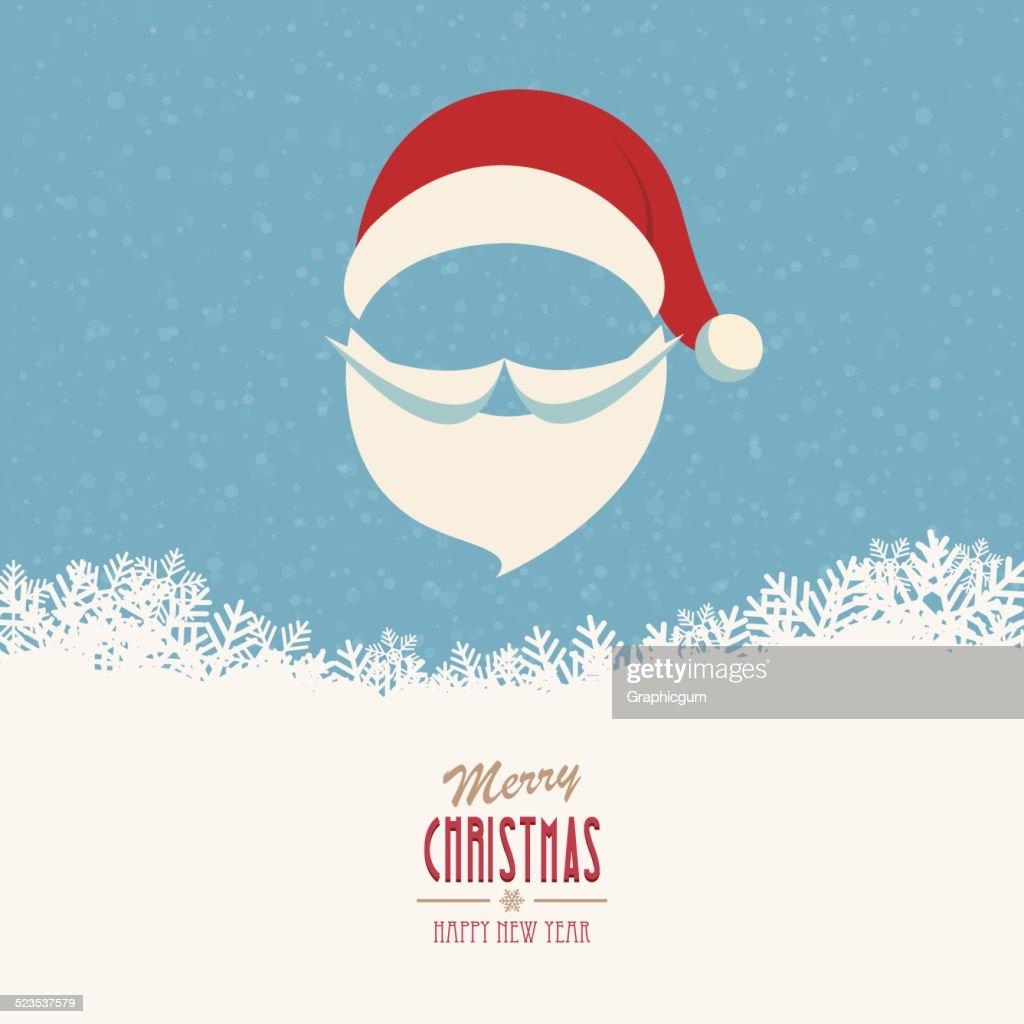 santa hat and beard snowy winter background