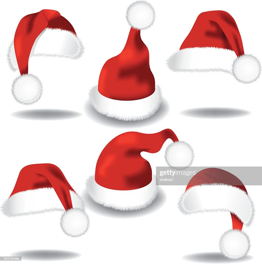 Santa hat collection isolated on white