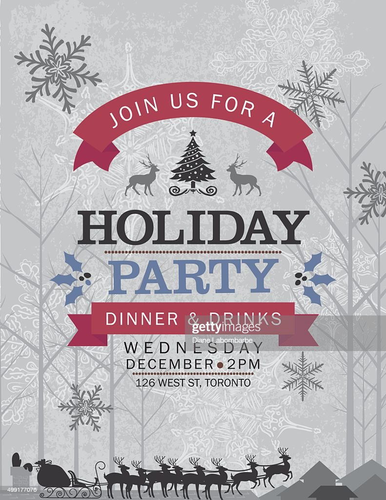 Santa His Reindeer Christmas Eve Holiday Party Invitation Vector Art ...