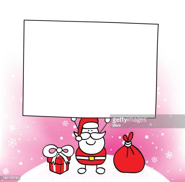 santa holding blank banner