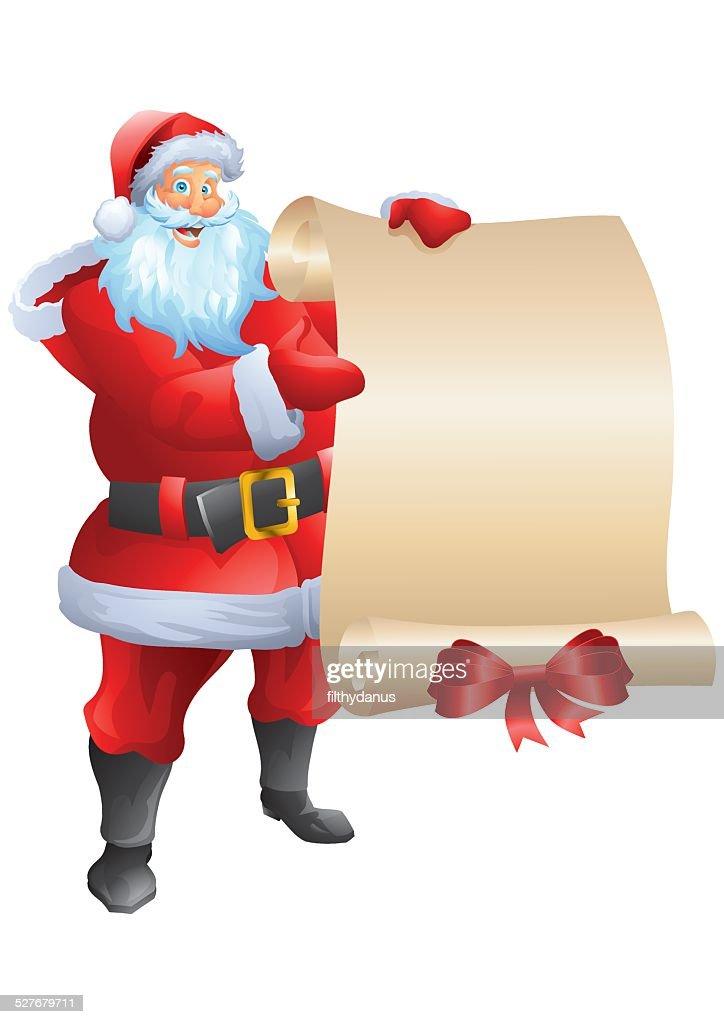 Santa holding wish list isolated