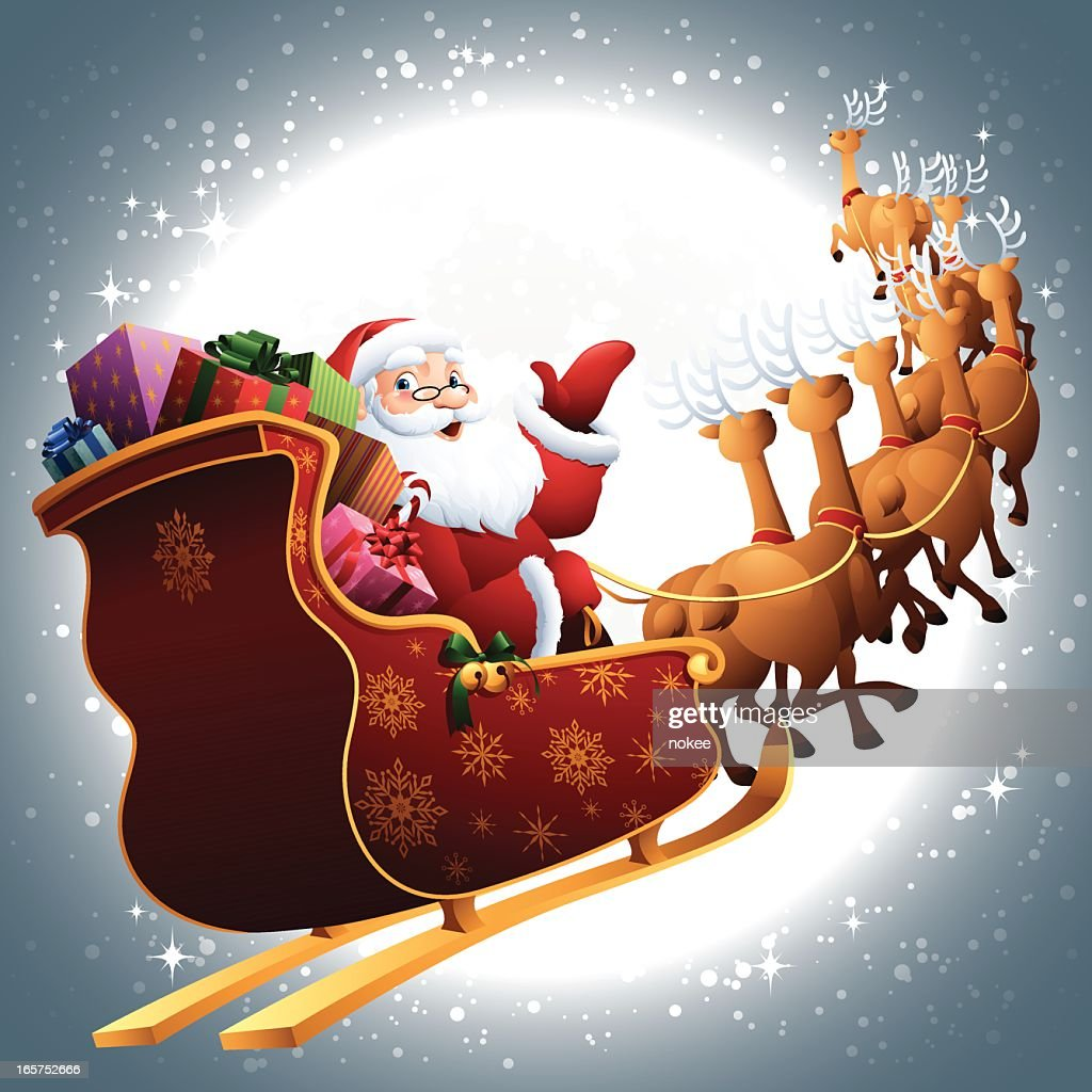 Santa In His Sleigh Flying Through Full Moon Sky Vector ...