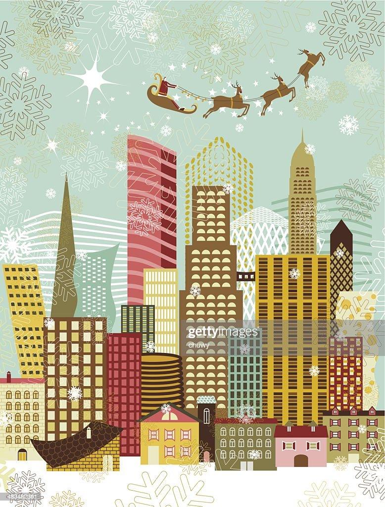Santa de la ciudad en Navidad : Ilustración de stock