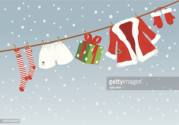 santa laundry and copy space - goodie bag stock illustrations, clip art, cartoons, & icons