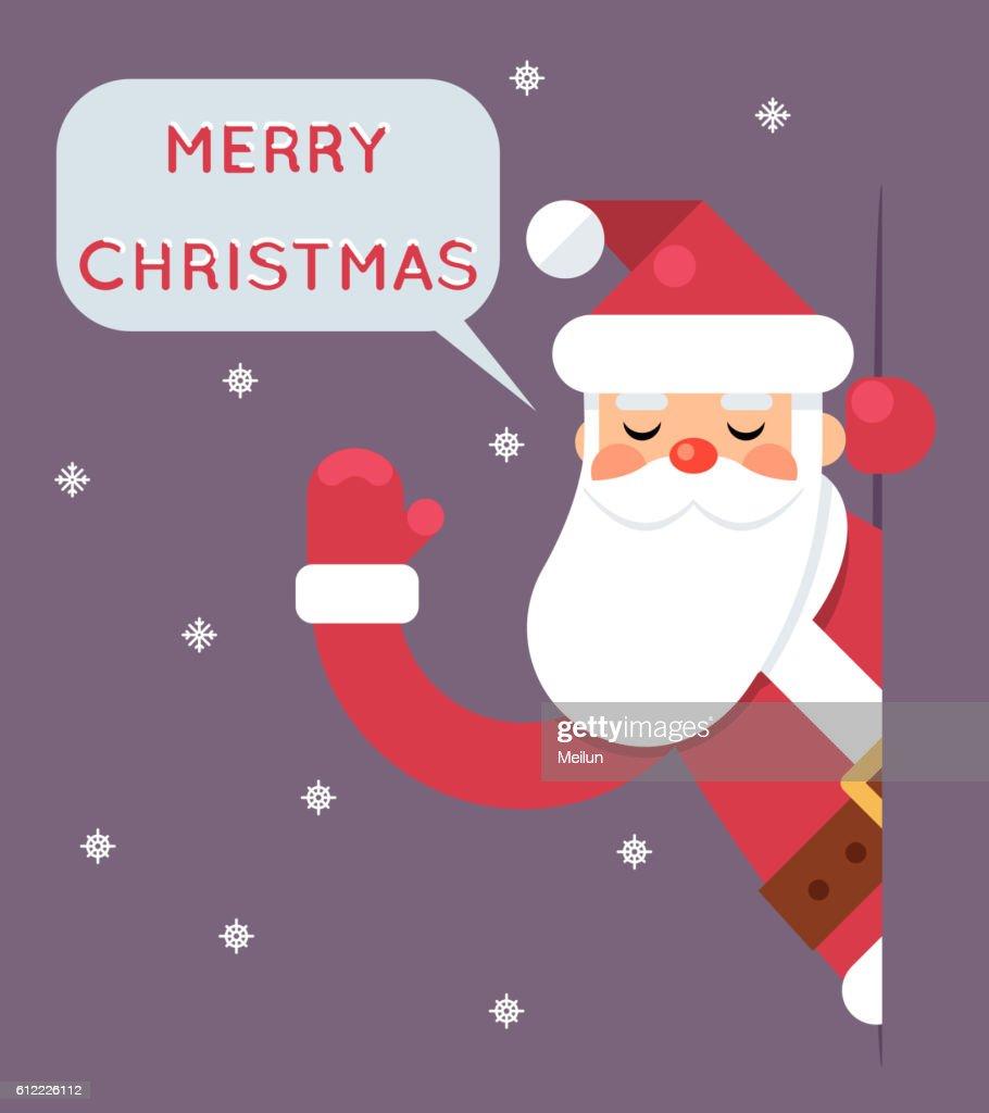 Santa Looking Out Corner Cartoon Character Happy New Year Greeting