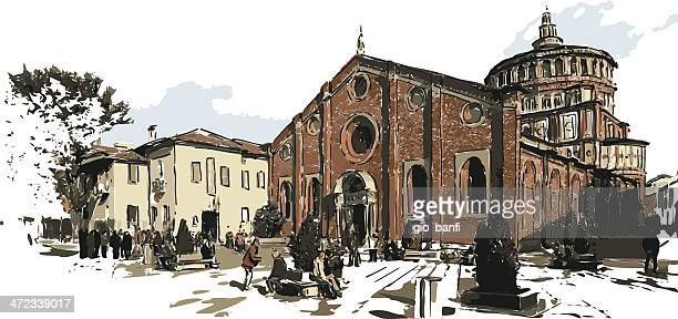 santa maria delle grazie - milan stock illustrations, clip art, cartoons, & icons