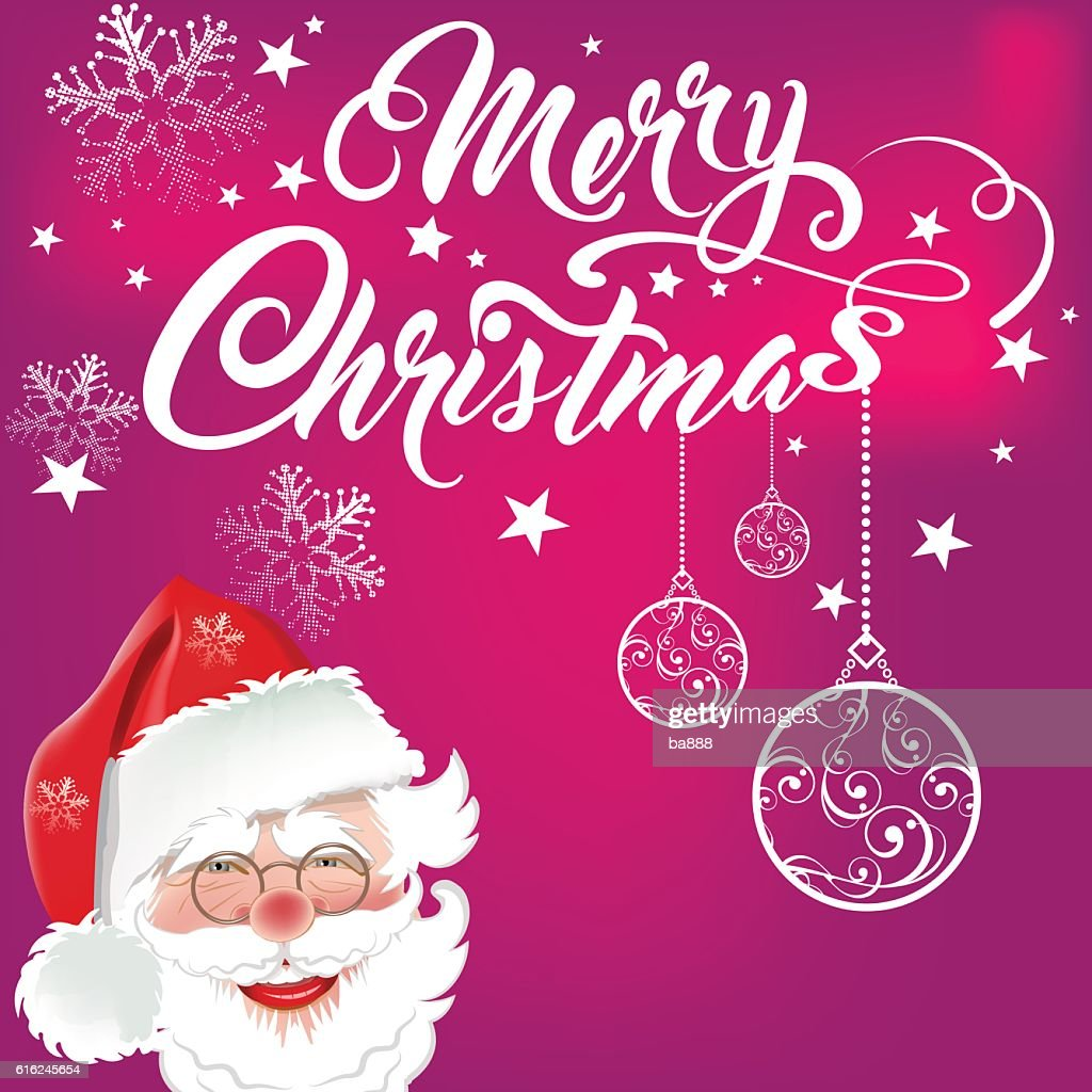 santa, merry christmas text, christmas card : Arte vetorial