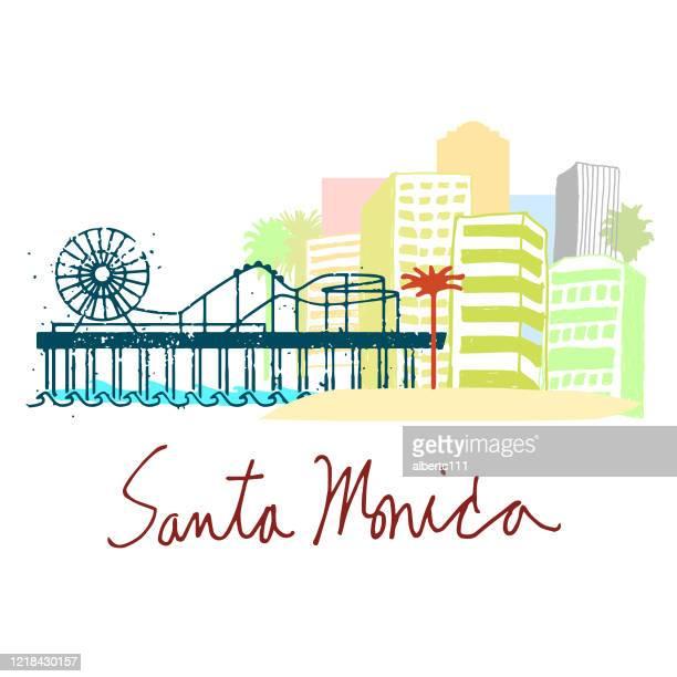 santa monica california cityscape - santa monica stock illustrations