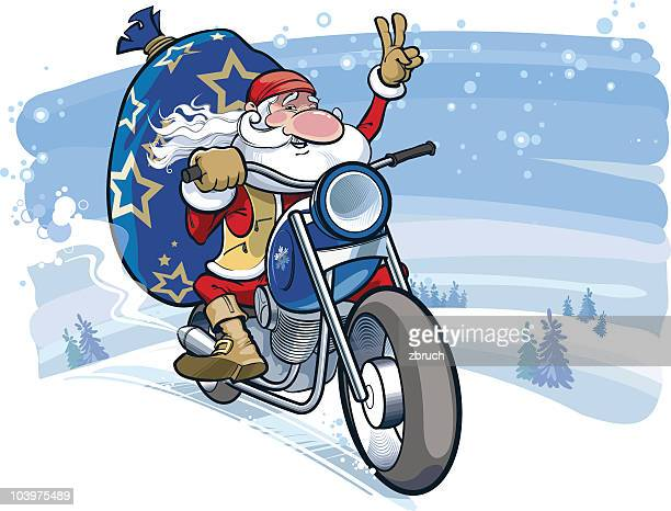 santa motobiker - motorcycle rider stock illustrations, clip art, cartoons, & icons