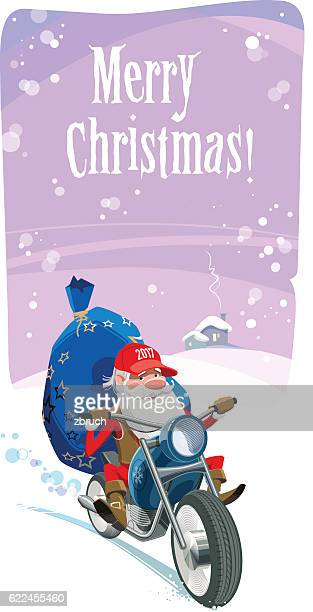 santa motor biker - motorcycle rider stock illustrations, clip art, cartoons, & icons