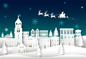 Santa on night sky in city town paper art Winter background. Christmas season paper cut style illustration
