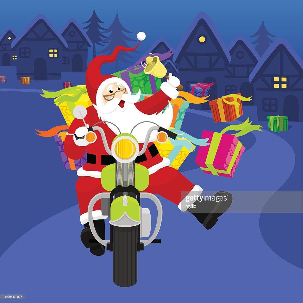 Santa riding a Harley Davidson
