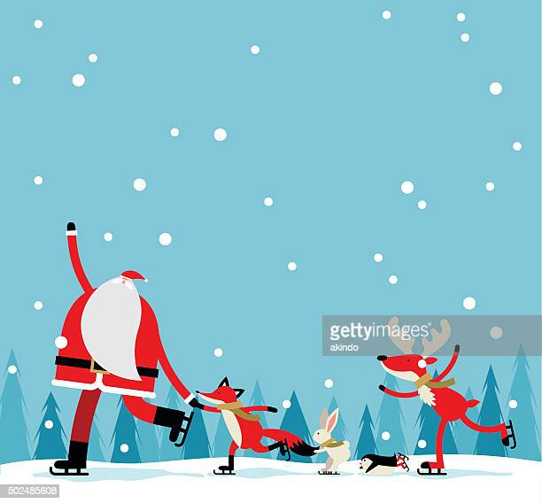 santa skate - cute stock illustrations