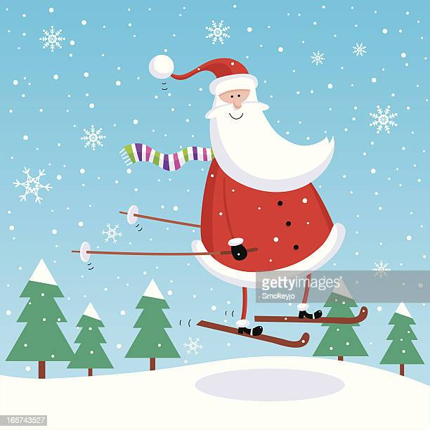 illustrations, cliparts, dessins animés et icônes de santa de saut à ski - ski humour