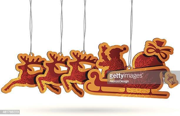 santa sleigh tags - goodie bag stock illustrations, clip art, cartoons, & icons