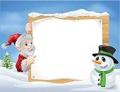 Santa Snowman Cartoon Sign