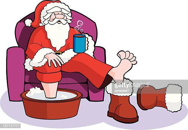 Santa Soaks his Sore Feet