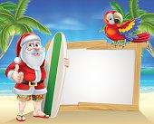 Santa tropical beach sign