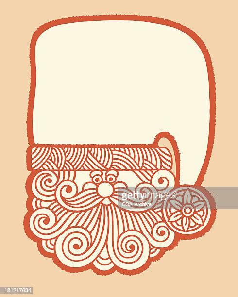 santa wearing big hat - enclosure stock illustrations