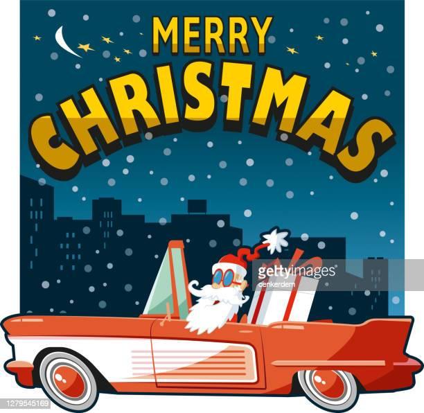 santa with american car - classic car christmas stock illustrations
