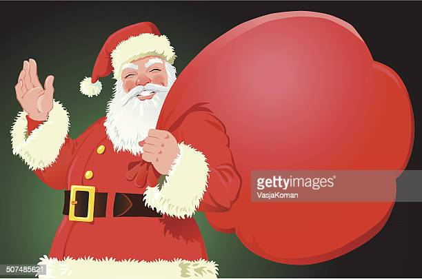 Santa with Big Bag as Copy Space