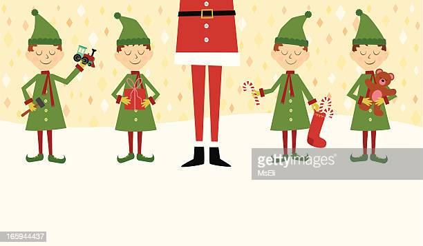 Santa with elves