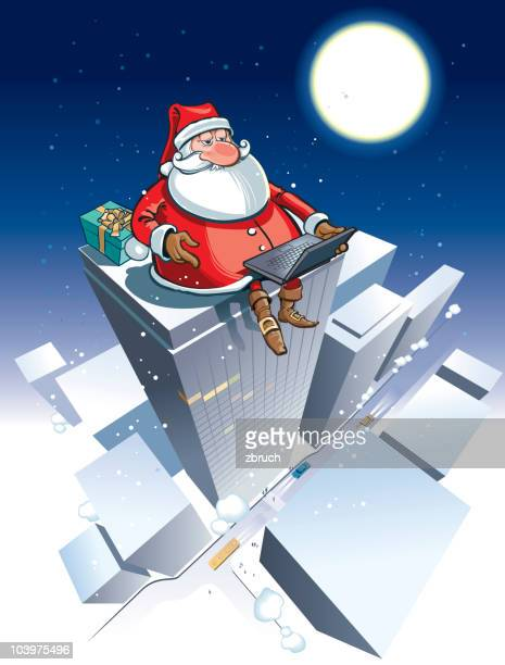 santa with notebook on the roof - high up stock illustrations, clip art, cartoons, & icons