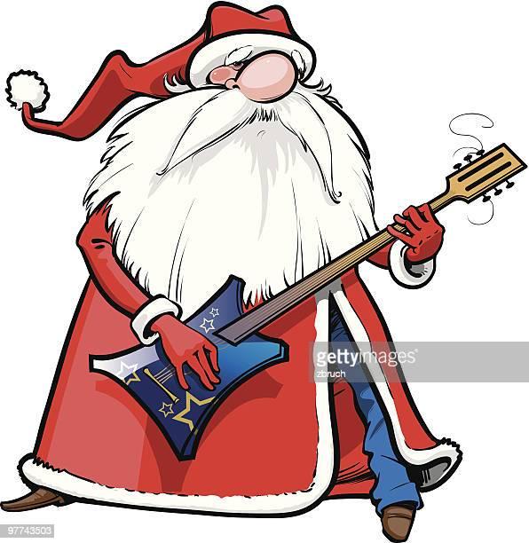 ilustraciones, imágenes clip art, dibujos animados e iconos de stock de santa con guitarra - bajo eléctrico