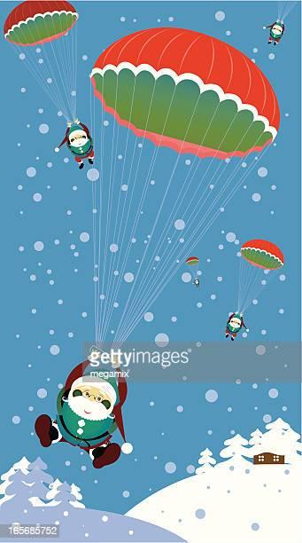 santas and parachutes. - paratrooper stock illustrations, clip art, cartoons, & icons
