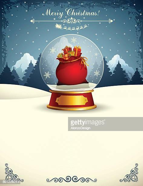 illustrations, cliparts, dessins animés et icônes de santa s sac dans une boule de neige décorative - jouet
