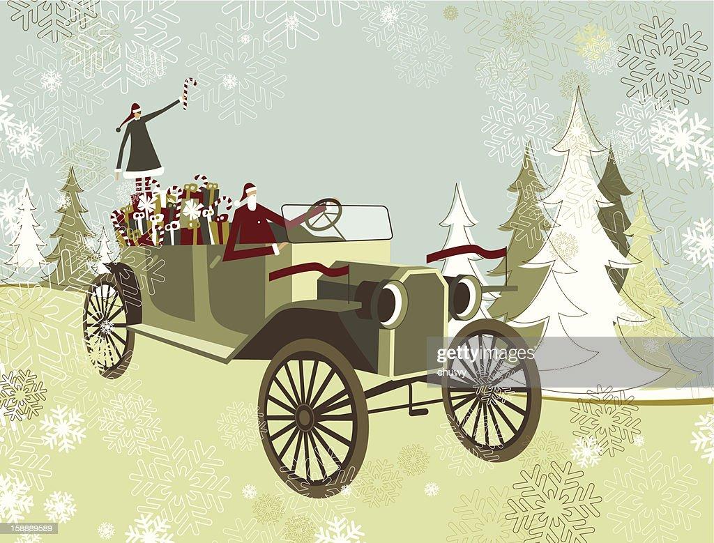 Santa's car : Vector Art