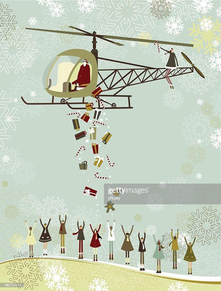 Santa's christmas helicóptero : arte vectorial