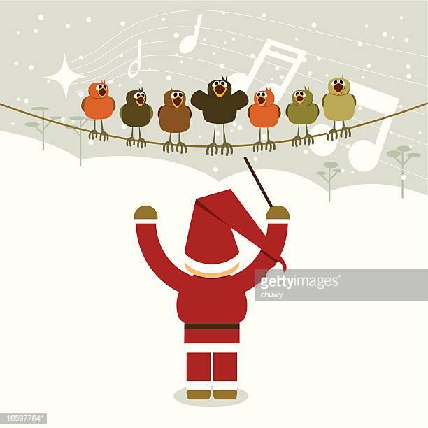 ilustraciones, imágenes clip art, dibujos animados e iconos de stock de santa's christmas orchestra - director de orquesta