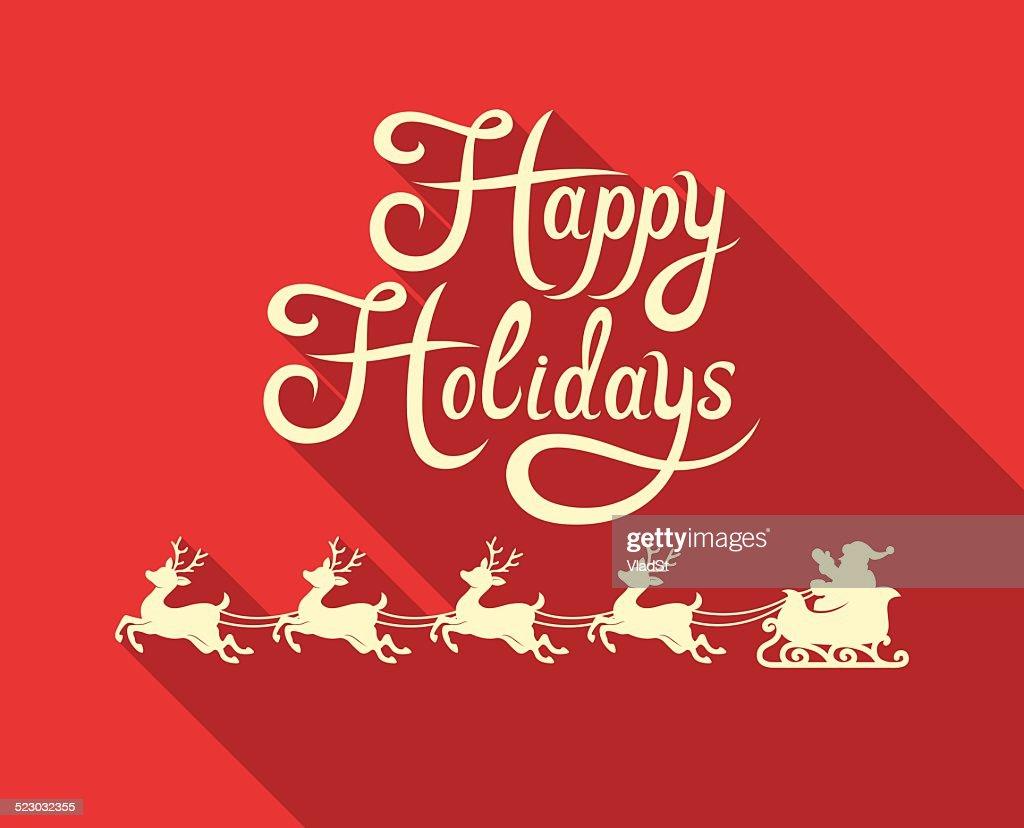 Santas Weihnachtsschlitten Happy Holidays Vektorgrafik | Getty Images