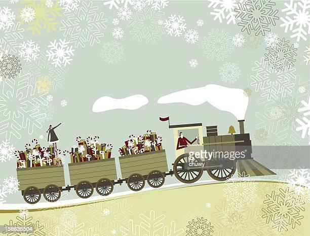 ilustraciones, imágenes clip art, dibujos animados e iconos de stock de santa's christmas tren - chuwy
