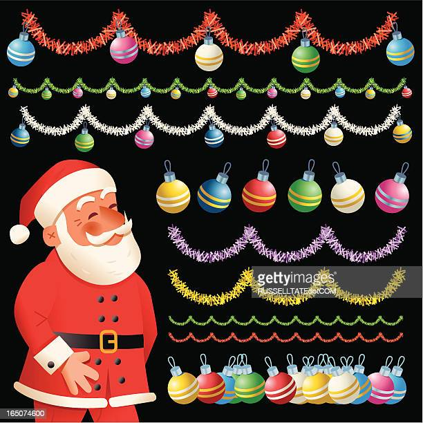 santa's decorations - tinsel stock illustrations