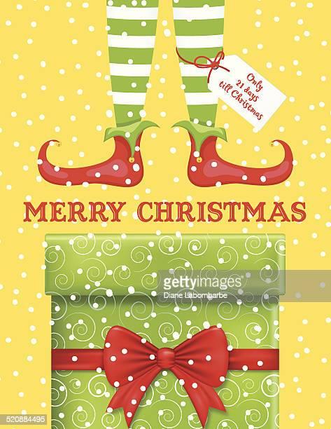 stockillustraties, clipart, cartoons en iconen met santas elf feet and legs on snowy background with gift - nylon feet
