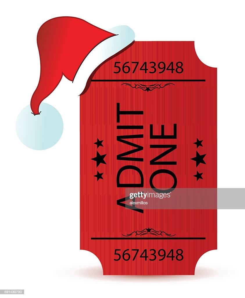 santa's hat and ticket illustration design over white